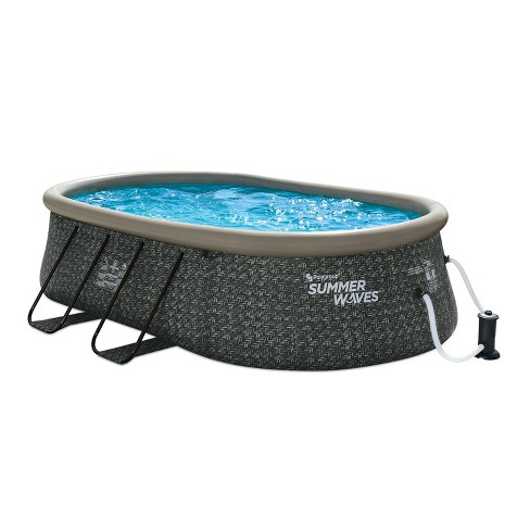 Summer Waves Quick Set 15 By 10 Foot Oval Above Ground Pool Dark Gray With Ground Cloth Cover Filter Pump And Repair Patch Target