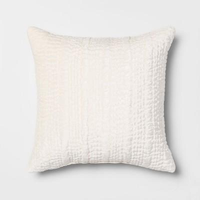 Square Quilted Velvet Throw Pillow Cream - Opalhouse™