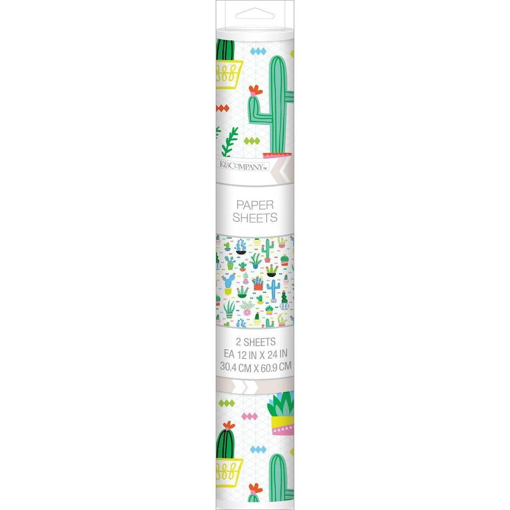 Image of K&Company 12'' x 24'' 2pk Cactus Paper Sheet