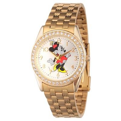 Women's Disney Minnie Mouse Gold Alloy Glitz Watch - Gold