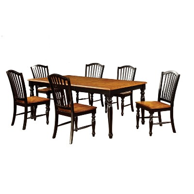 7pc JamesonCountry Style Extendable Dining Table Set Black/Oak - HOMES: Inside + Out