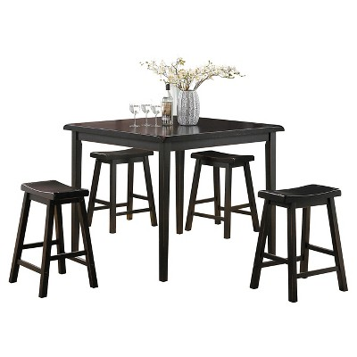 5pc Gaucho Counter Height Dining Set Black - Acme Furniture