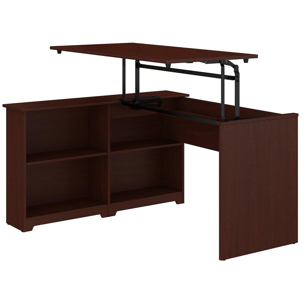 Cabot 3 Position Sit To Stand Corner Bookshelf Desk Cherry Red Bush Furniture