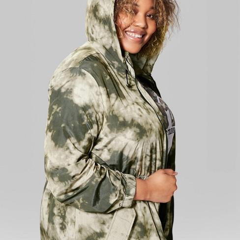 Women's Plus Size Zip-Up Tie Dye Long Windbreaker Jacket - Wild Fable™ Olive - image 1 of 3
