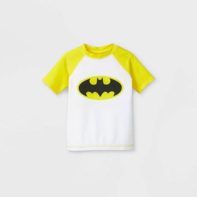 Toddler Boys' Batman Rash Guard Swim Shirt - White