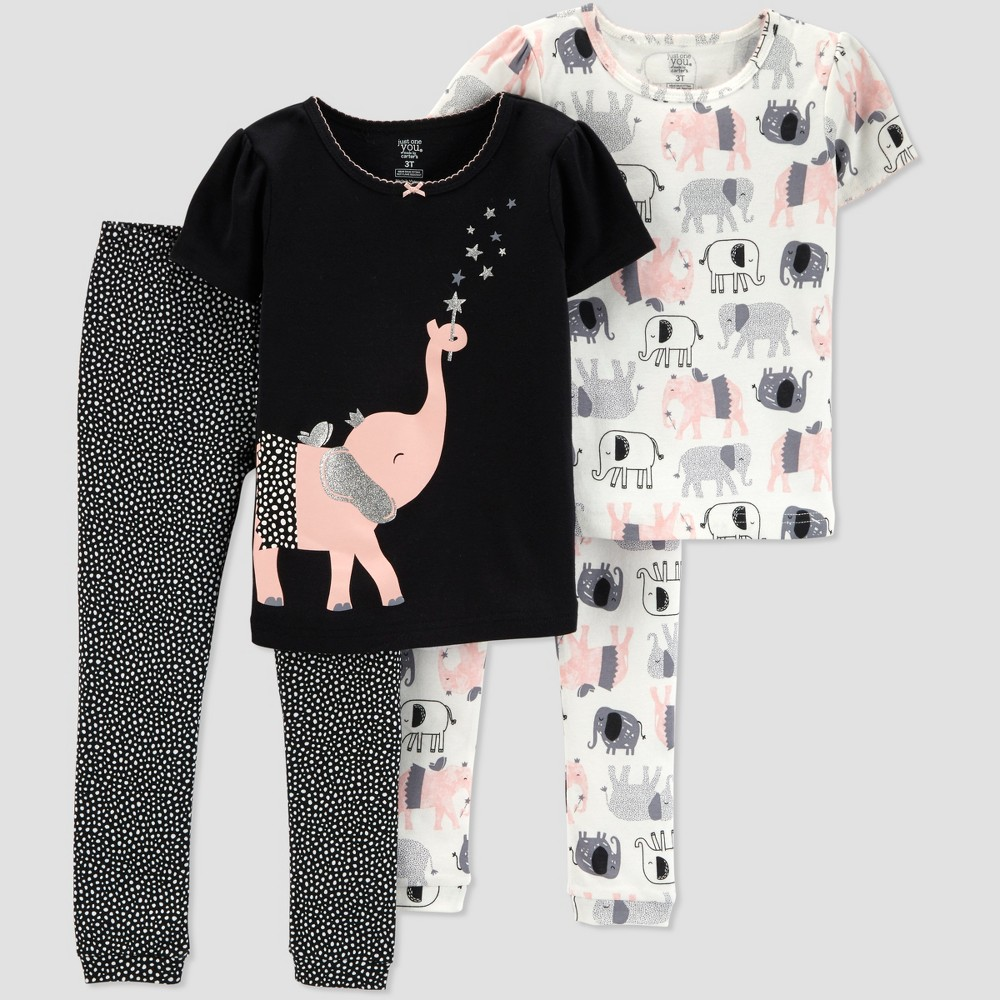 Toddlers Girls' 4pc Elephant South Pajama Set - Just One You made by carter's Black 4T