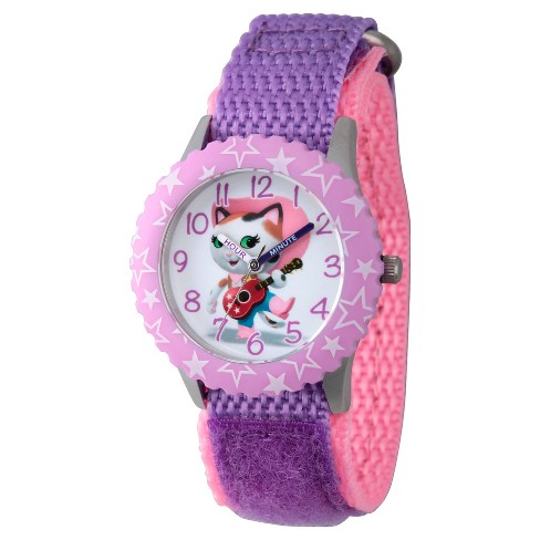 Girls' Disney Sheriff Callie Stainless Steel Time Teacher Watch - Purple - image 1 of 2