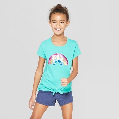 Girls Short Sleeve Tie Front Rainbow Flip Sequins T Shirt