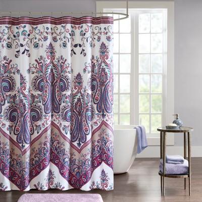 Allura Printed Shower Curtain Purple