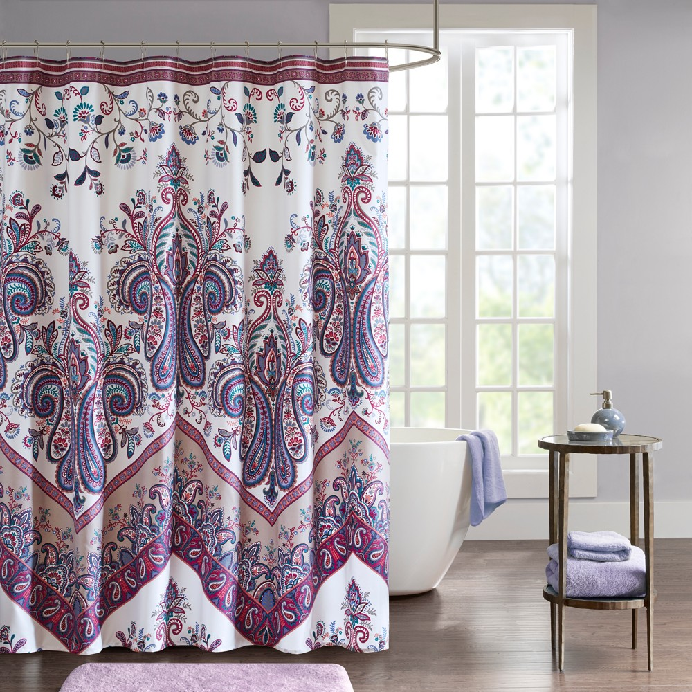 Image of Allura Printed Shower Curtain Purple