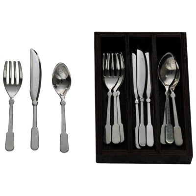 The Queen's Treasures 18 Inch Doll Accessory Flatware Utensil Set, Svc for 4 Silver Utensils W/Wood Tray