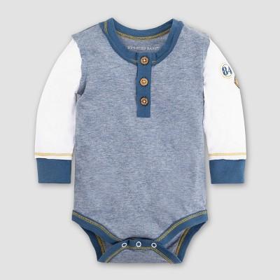 Burt's Bees Baby Boys' Organic Cotton Henley Patch Bodysuit - Twilight 0-3M