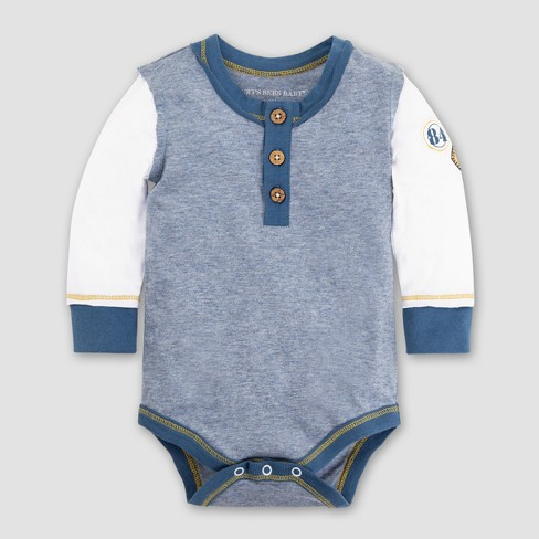 Burt's Bees Baby Boys' Organic Cotton Henley Patch Bodysuit - Twilight - image 1 of 2