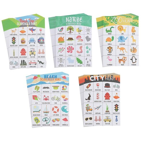 Scavenger Hunt Game - 100-Pack Scavenger Hunt Set for Kids, 5 Assorted Themes, Childrens Outdoor Game Cards, Spot up to 16 Items, Birthday Party Favor - image 1 of 4