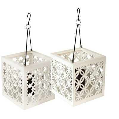 "Melrose 8.5"" Metro White Geometric Flower Lattice Hanging Patio Pillar Candle Lantern"