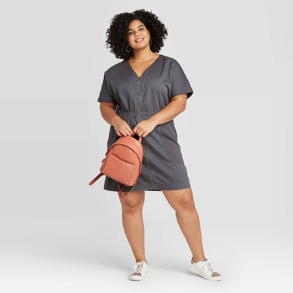 Women's Plus Size Short Sleeve V-Neck Front Zip Elastic Waist Dress - Universal Thread Gray 4X was $27.99 now $19.59 (30.0% off)