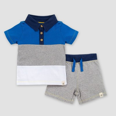 Burt's Bees Baby® Baby Boys' Colorblock Polo T-Shirt & Shorts Set - Blue/Gray/White 3-6M
