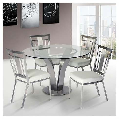Cleo Contemporary Dining Table Stainless Steel Clear Gl Armen Living Target