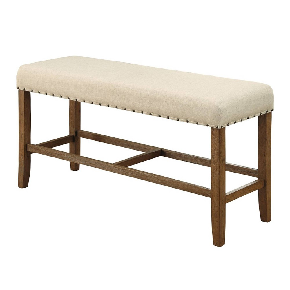 Rustic Counter Height Bench Antique Wood - Benzara