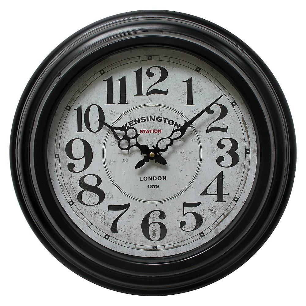 17 Round Wall Clock Black - Yosemite Home Decor