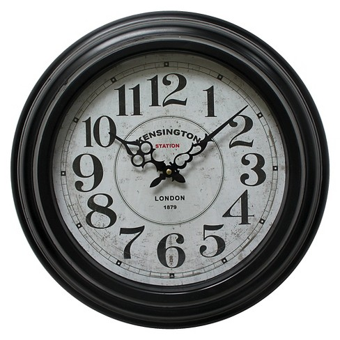"17"" Round Wall Clock Black - Yosemite Home Decor® - image 1 of 1"