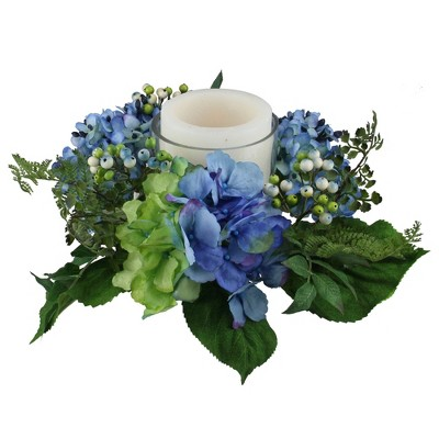 """Northlight 16"""" Decorative Artificial Blue and Green Hydrangea and Berry Hurricane Glass Candle Holder"""