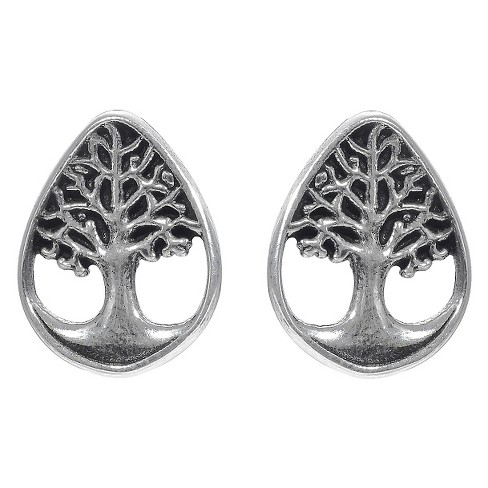 Women's Journee Collection Sterling Silver Tree of Life Teardrop Stud Earrings - Silver - image 1 of 2