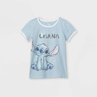 Girls' Disney Stitch Ohana Short Sleeve Graphic T-Shirt - Blue - Disney Store