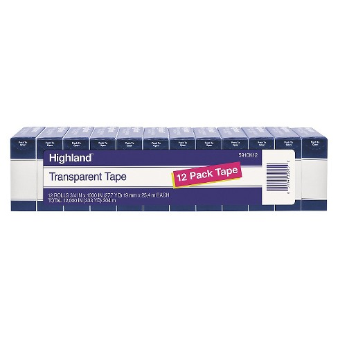 "Highland™ Transparent Tape, 3/4"" x 1000"", 1"" Core, Clear, 12/Pack - image 1 of 1"
