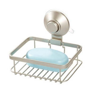 Everett Push Lock Suction Soap Dish Silver - iDESIGN