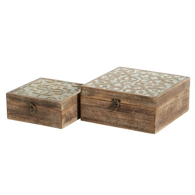 Set of 2 Decorative Wood Boxes with Carved Trellis Designs - Olivia & May