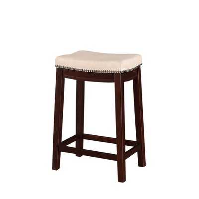 Nail Head 26  Backless Counter Stool Upholstered Seat - Beige/Walnut - Linon