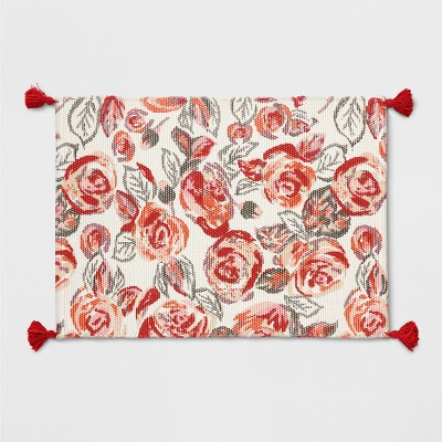 2'X3' Floral Woven Tasseled Accent Rug Orange/Pink - Opalhouse™