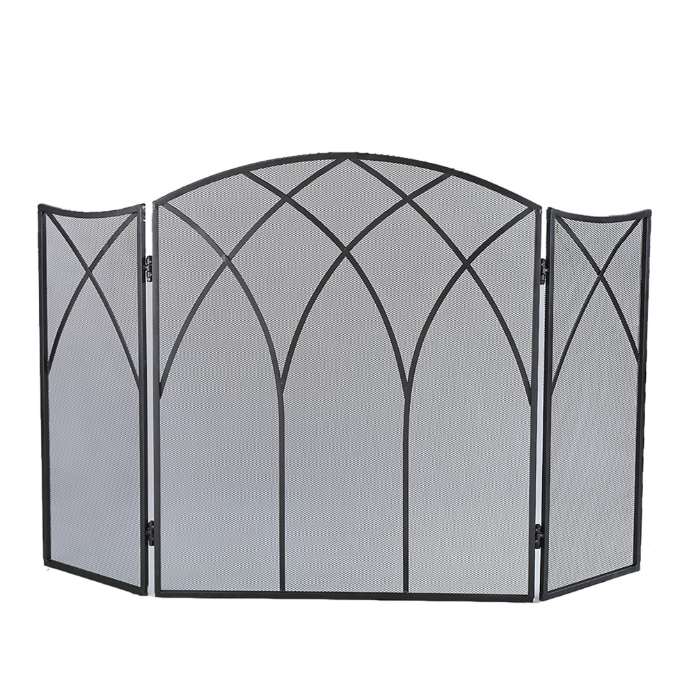 Pleasant Hearth Gothic Fireplace Screen Black