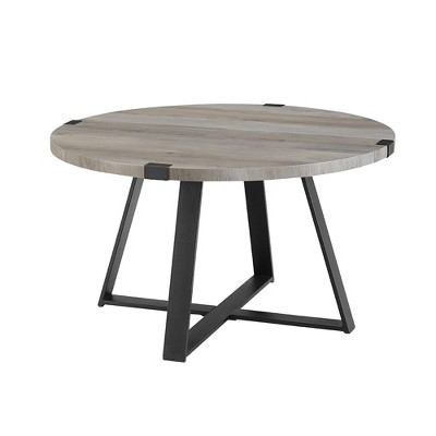"30"" Round Urban Industrial Wood and Steel Coffee Table Gray Wash - Saracina Home"