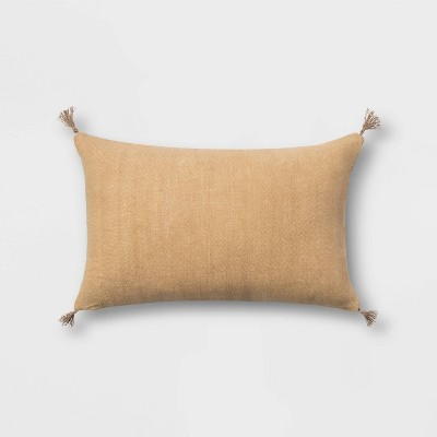 Washed Linen Lumbar Throw Pillow with Tassels Gold - Threshold™
