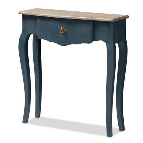 Mazarine Classic and Provincial Spruce Finished Console Table Blue - Baxton Studio - image 1 of 11