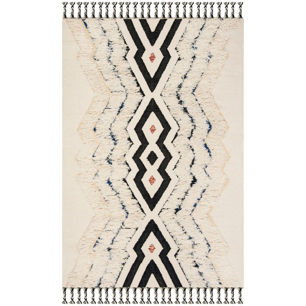 5'X8' Tribal Design Knotted Area Rug Ivory/Black - Safavieh, White