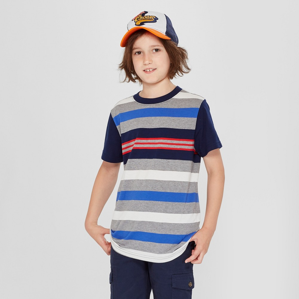 Boys' Short Sleeve Stripe T-Shirt - Cat & Jack Navy/Gray L, Blue