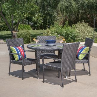 Seal 5pc Wicker Dining Set - Gray - Christopher Knight Home