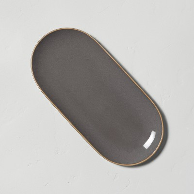 Stoneware Exposed Rim Oblong Serve Tray Gray - Hearth & Hand™ with Magnolia