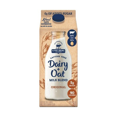 Live Real Farms Dairy Original Unsweetened OatMilk Blend - 0.5gal