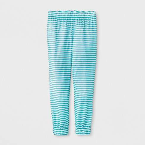 Girls' Stripe Jogger Sleep Pajama Pants - Cat & Jack™ Blue/White - image 1 of 1
