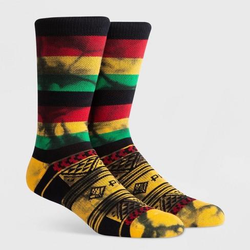 PKWY Men's Geometric Crew Socks - Black L - image 1 of 4