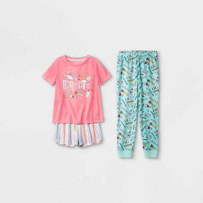 Girls' 3pc 'Create Art' Pajama Set - Cat & Jack™ Pink