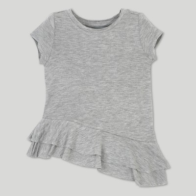 Toddler Girls' Afton Street French Terry Asym Short Sleeve Tunic - Heather Gray 12 M