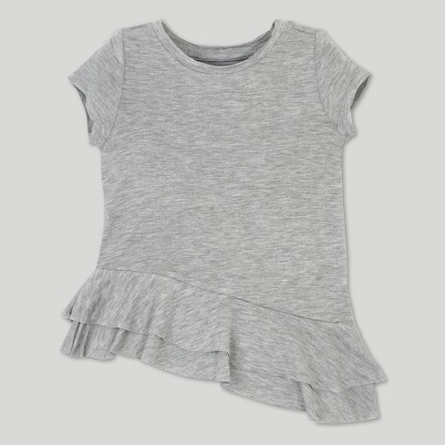 Toddler Girls' Afton Street French Terry Asym Short Sleeve Tunic - Heather Gray - image 1 of 2