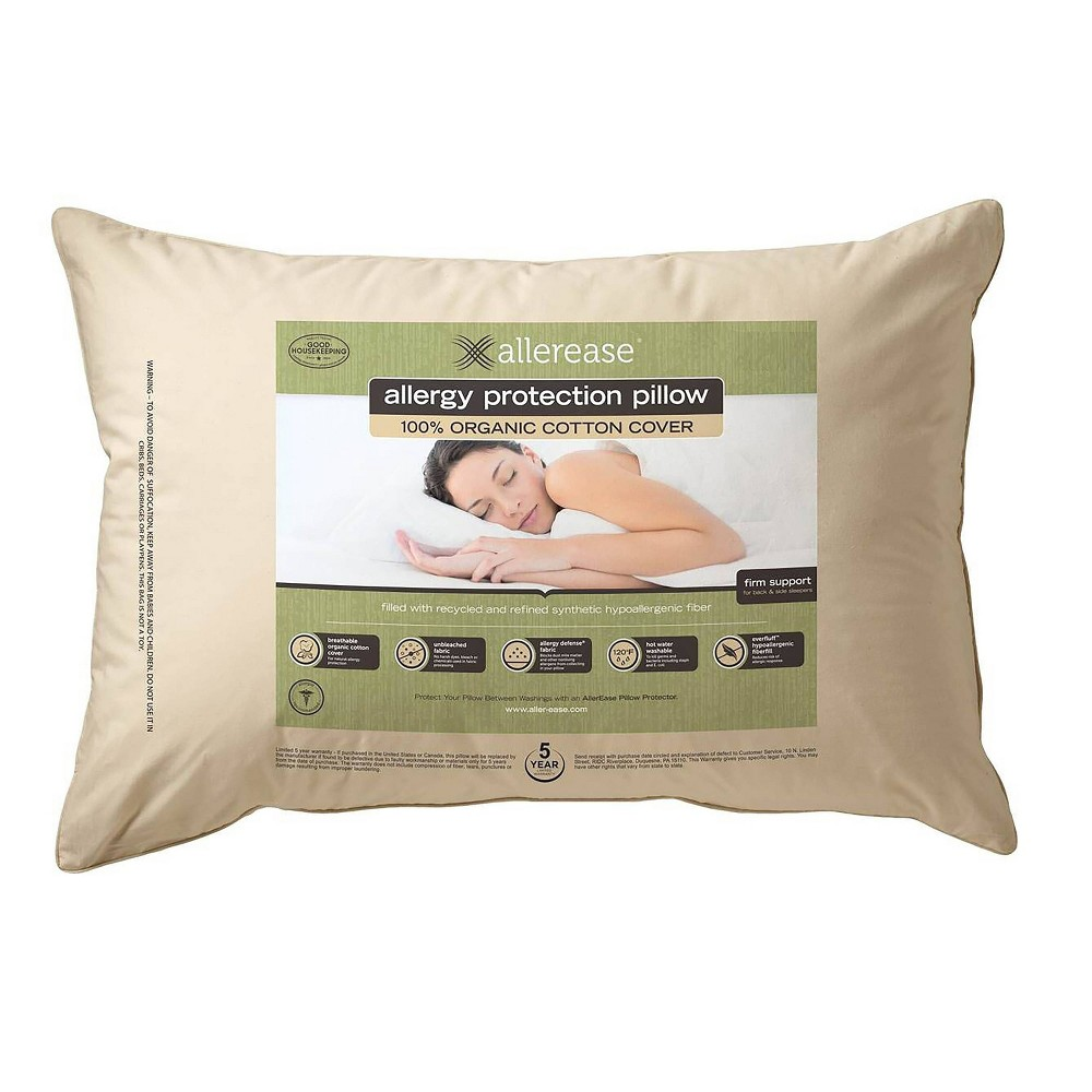 Image of AllerEase Organic Cotton Cover Allergy Protection Pillow - (King)