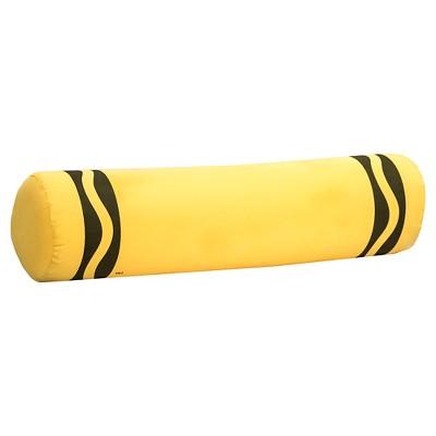 """Crayola Laser Crayon Bolster Throw Pillow - Yellow (6""""x24"""")"""