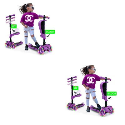 Hurtle ScootKid 3 Wheel Toddler Child Mini Ride On Toy Tricycle Scooter with Colorful LED Light Up Smooth Rolling Wheels, Purple (2 Pack)